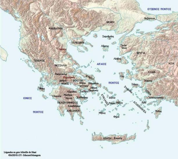 Carte de la Grèce antique
