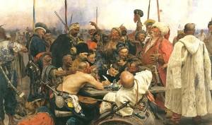Les Cosaques zaporogues écrivant une lettre au sultan de Turquie, une peinture du peintre russe Ilya Repine terminée en 1891